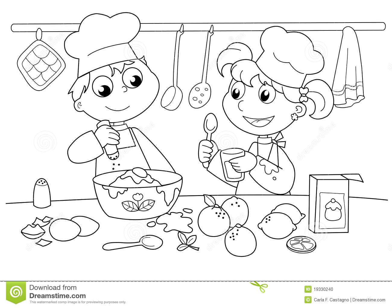Young Kids Cooking Stock Vector Illustration Of Coloring