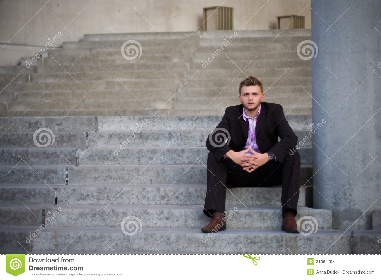 Young Man Sitting On Stairs Stock Images Image 31362704