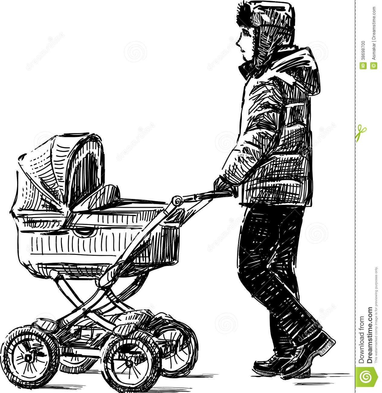 Young Man Walking With A Baby Carriage Stock Vector