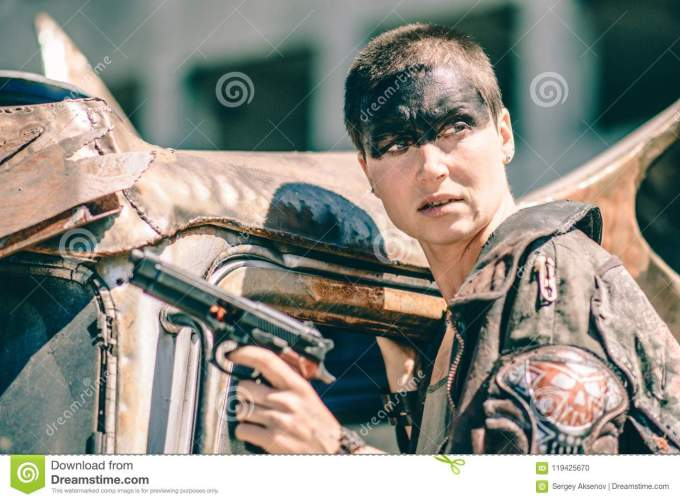 young woman with a short hair in a post-apocalyptic world