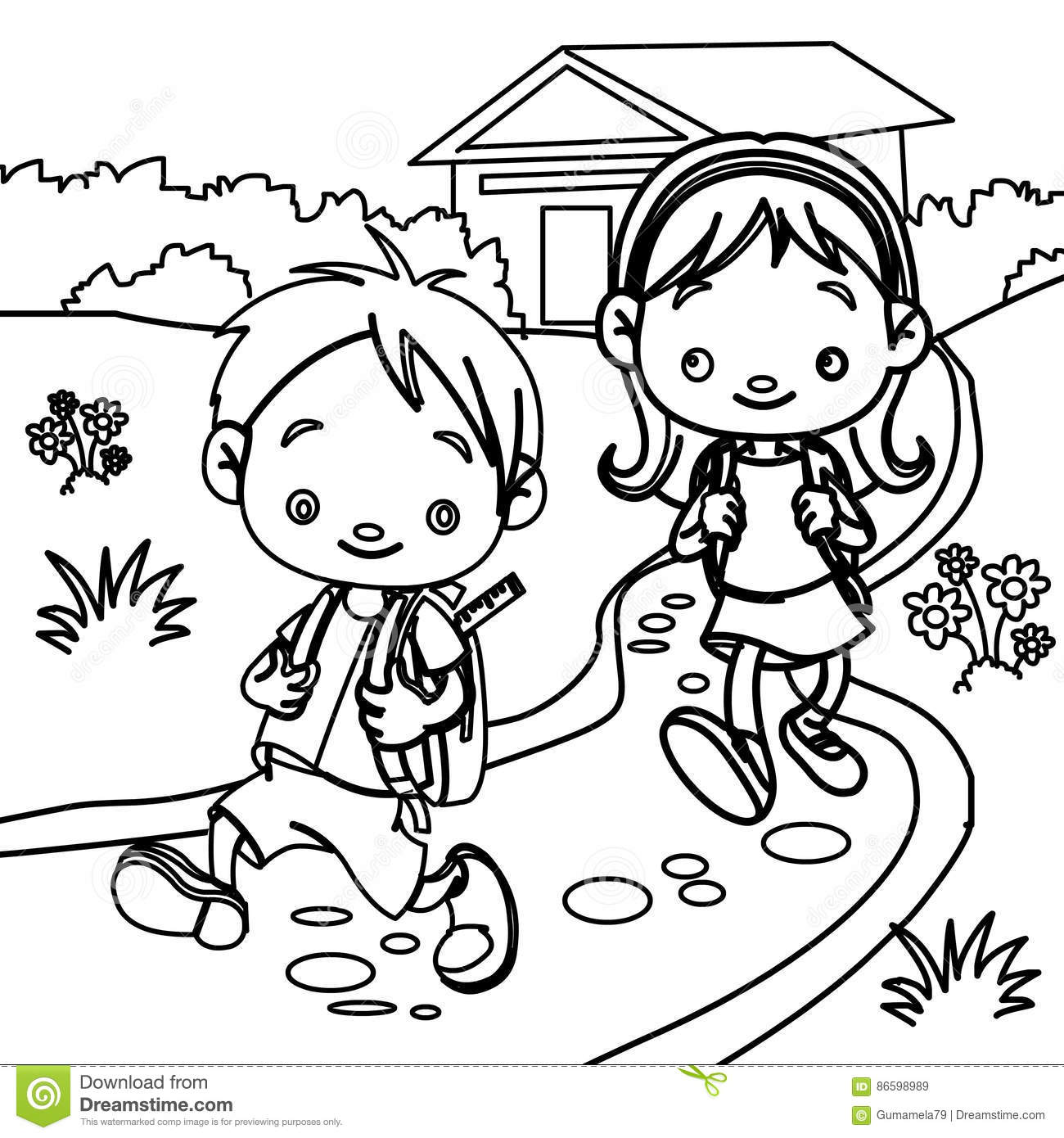 Young Students Coloring Page Stock Illustration