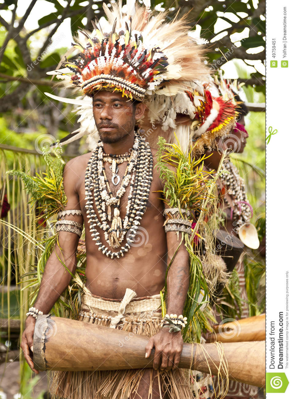 Young Tribal Warrior In Rural Tropical Island Village