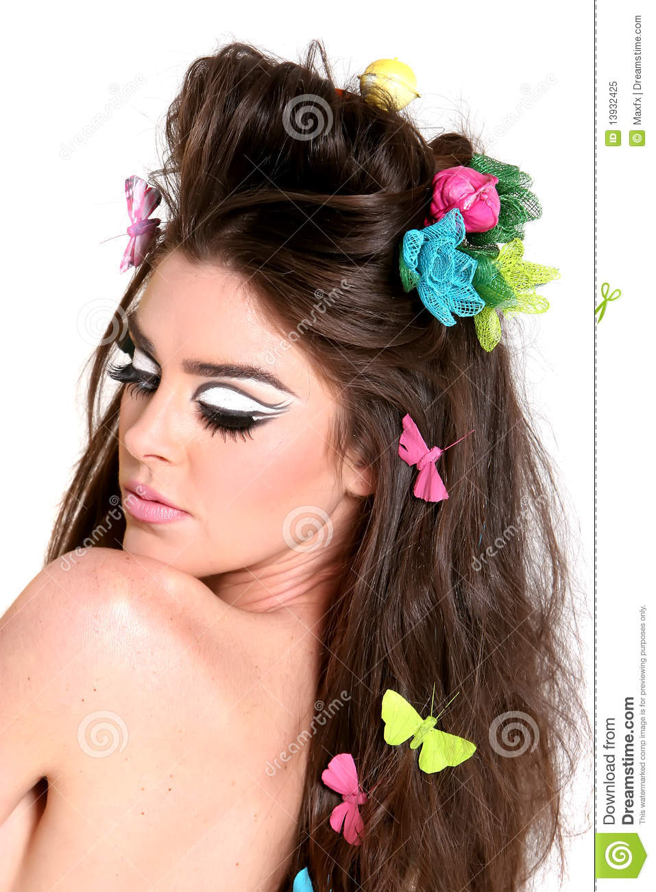 Young Woman With High Fashion Makeup And Hairstyle Stock