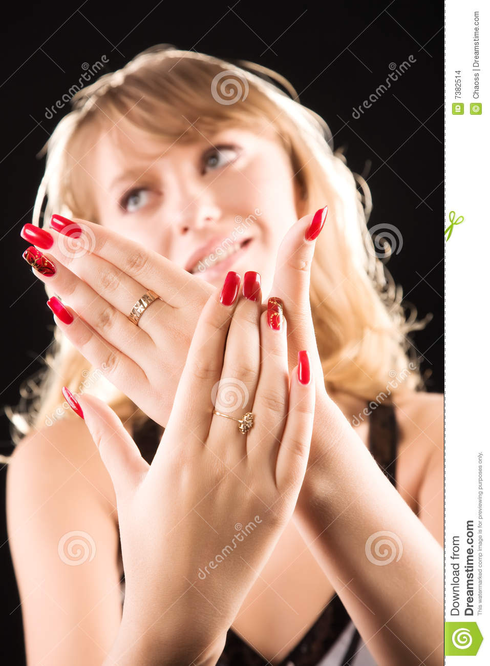 Young Woman Showing Her Red Nails Stock Images Image 7382514