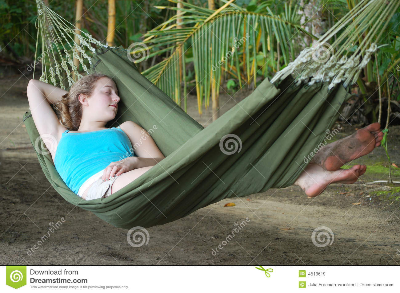 Young Woman Sleeping In A Hammock Royalty Free Stock