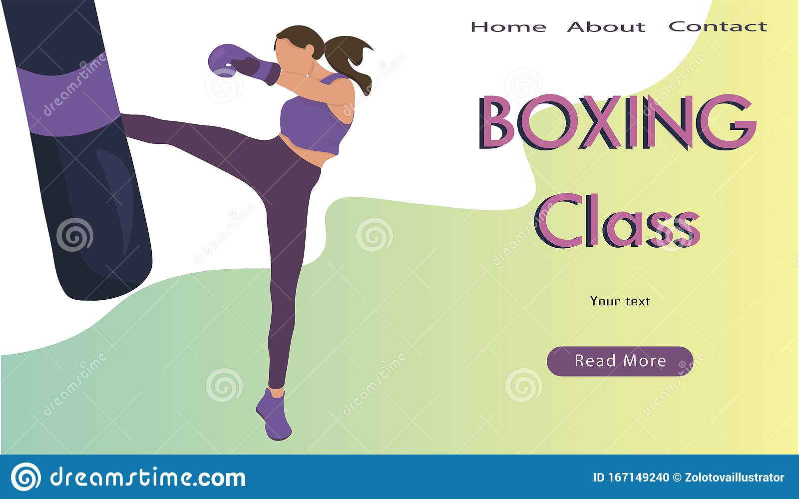 https www dreamstime com young woman training kick boxing gym flat vector illustration design banner poster header advertising female healthy image167149240
