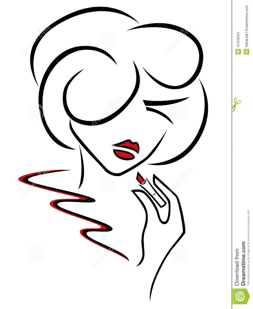 Young Woman Uses A Red Lipstick Stock Vector