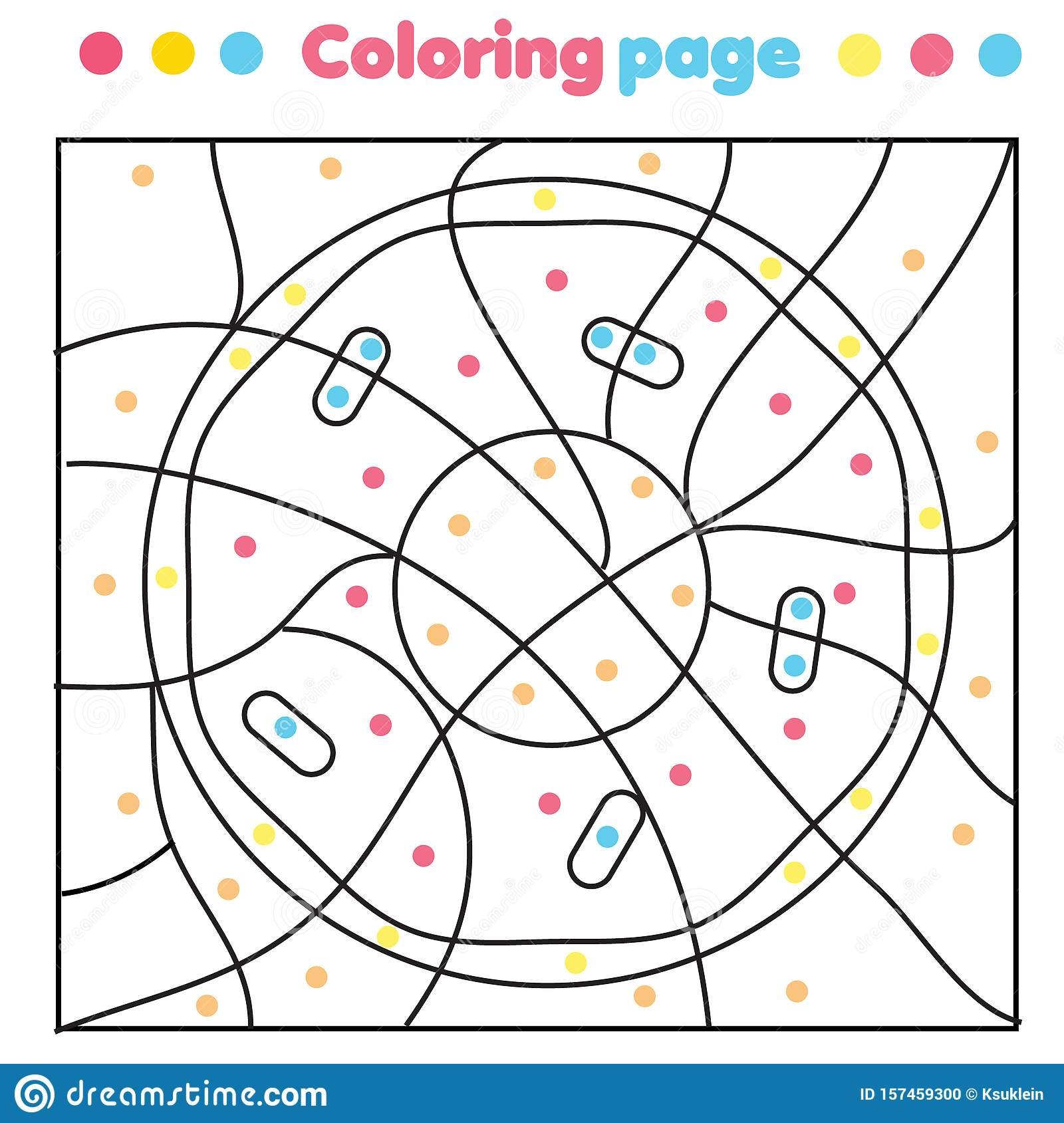 Yummy Donut Coloring Page Color By Dots Printable