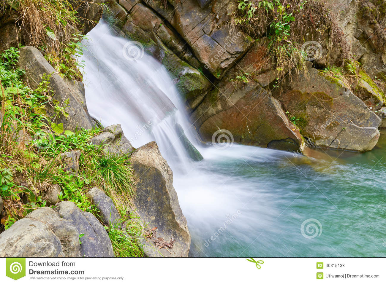 The Zaskalnik Waterfall Natural Source Of Water Stock Photo