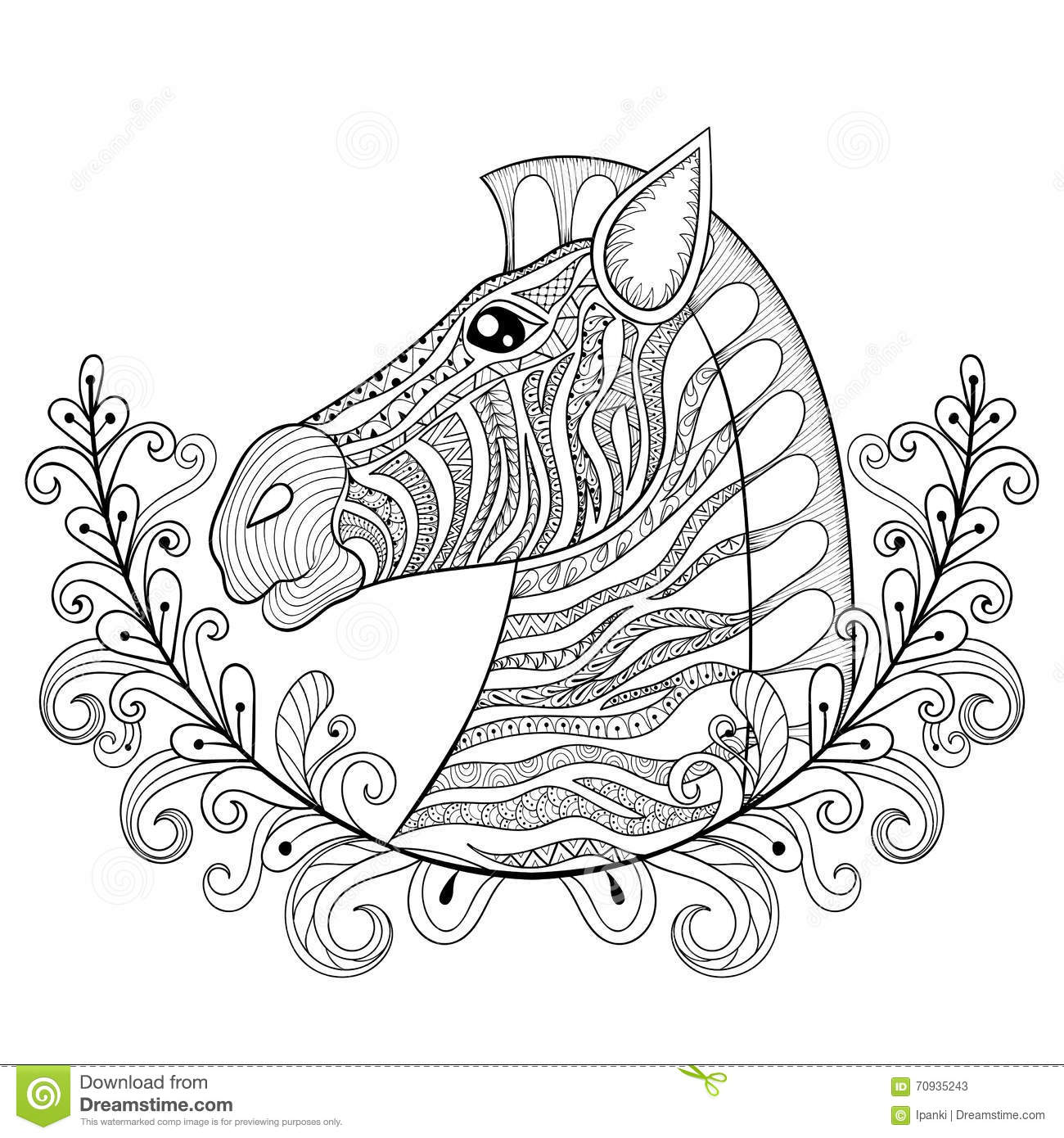 Zebra In Floral Frame Vector Zentangle Zebra Head Illustration Stock Vector