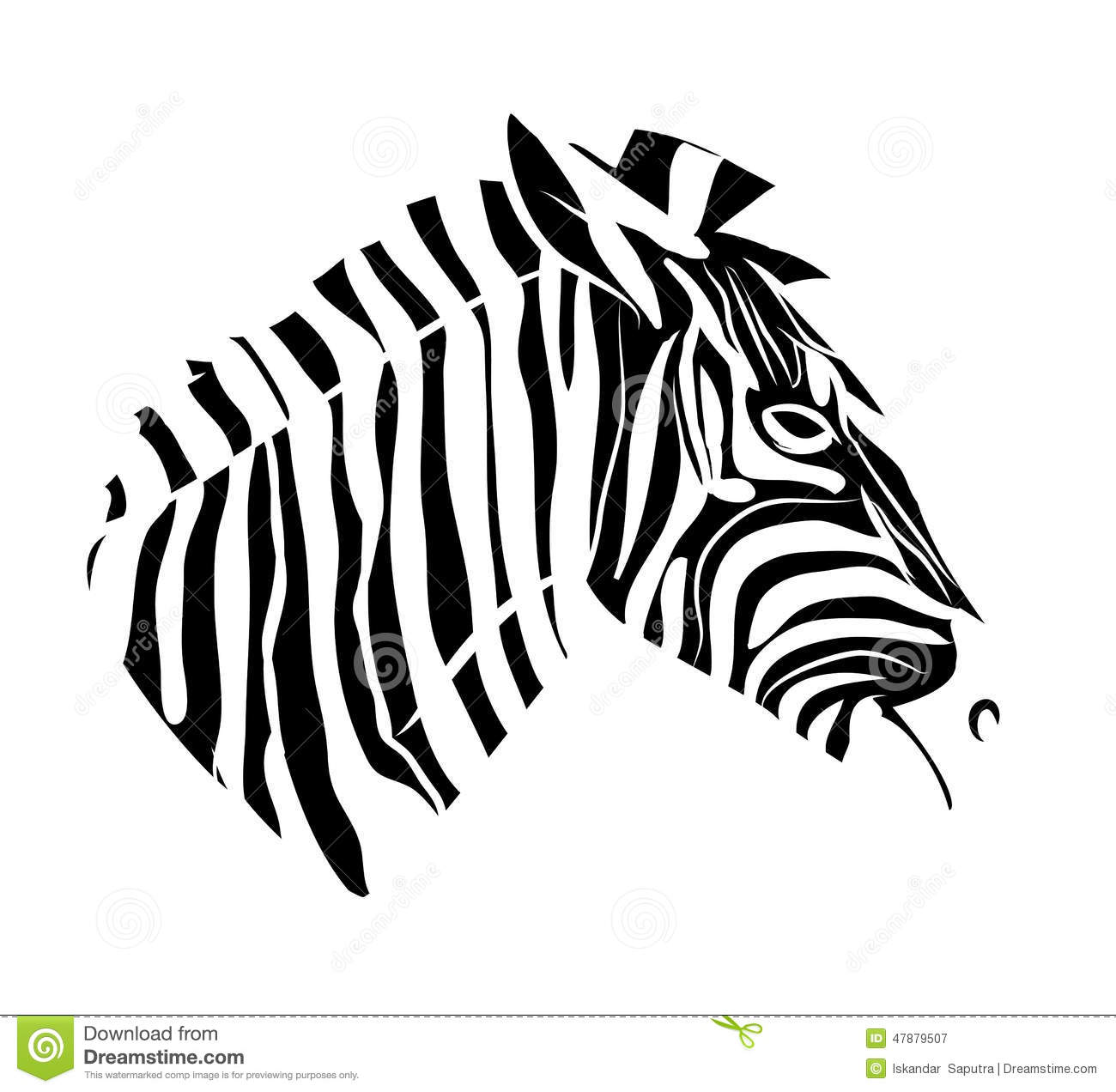 Zebra Head Tattoo Stock Illustration
