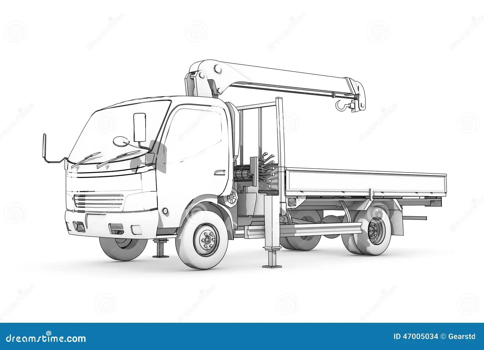 Zeichnen Schwarzweiss Skizze Des Laders Stock Abbildung