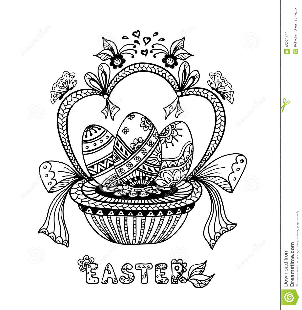 Zen Doodle Easter Eggs In Basket Black On White Stock