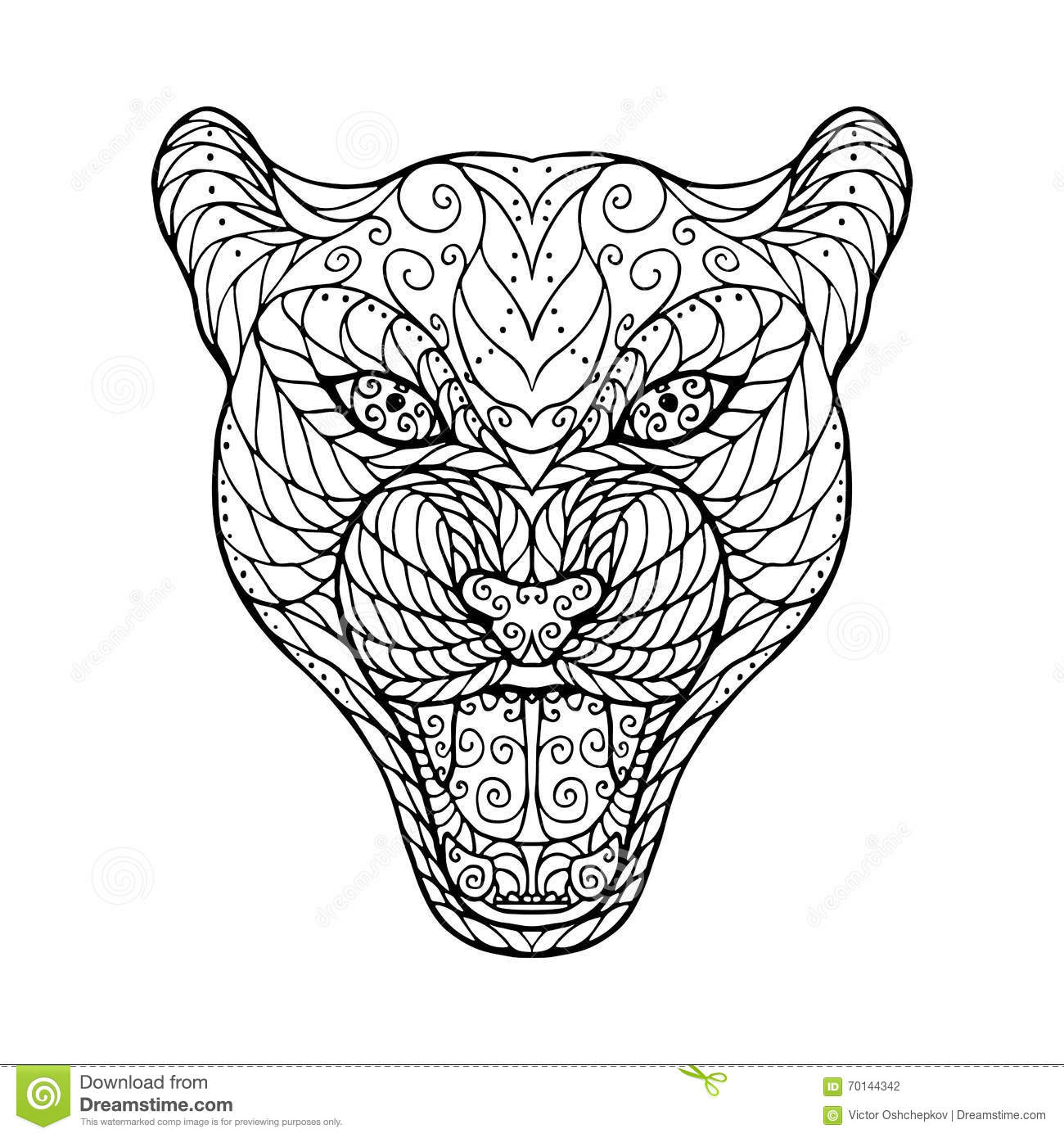 Jaguar Head Vector Illustration