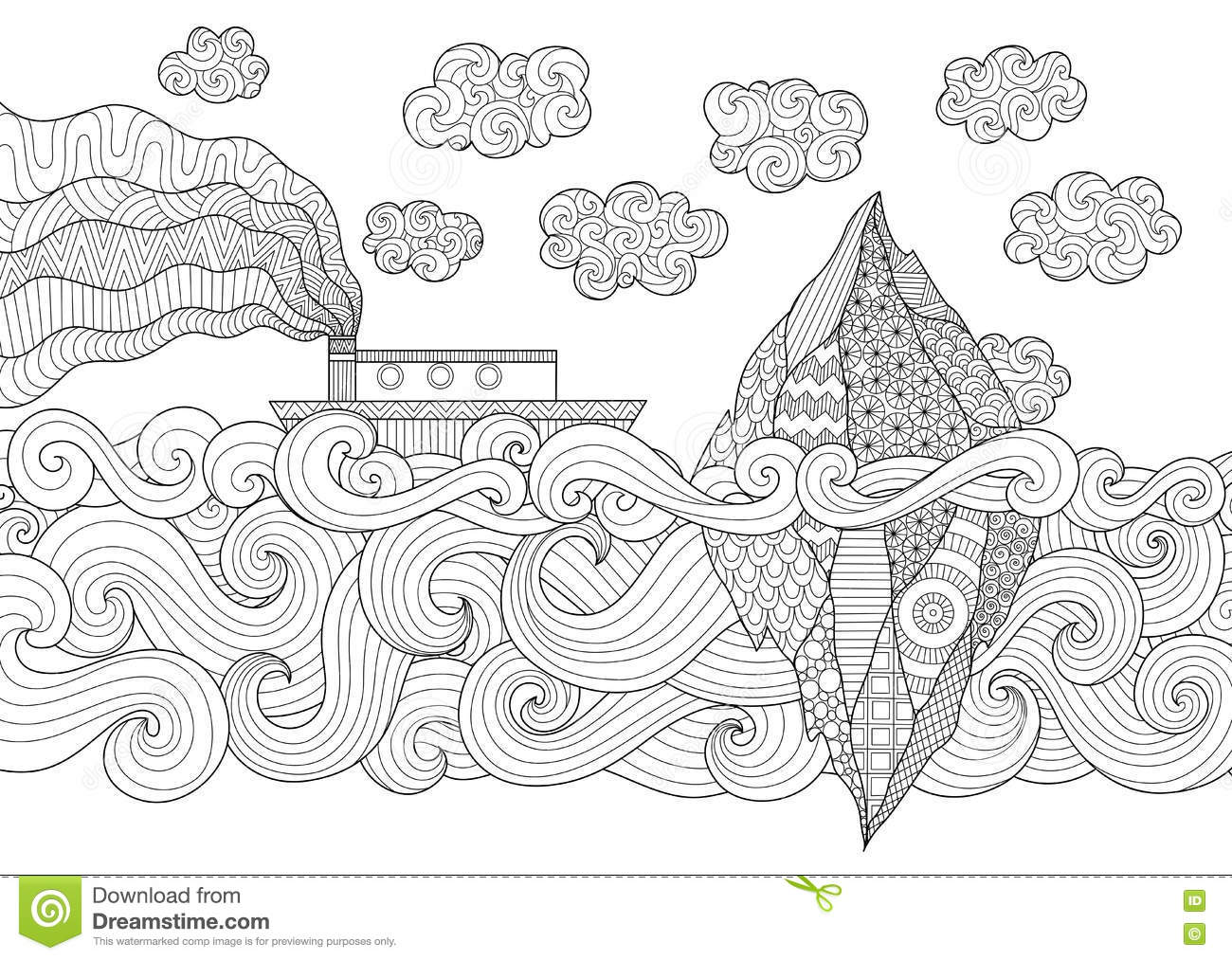 Zendoodle Design Of Seascape With Running Vessel Stock