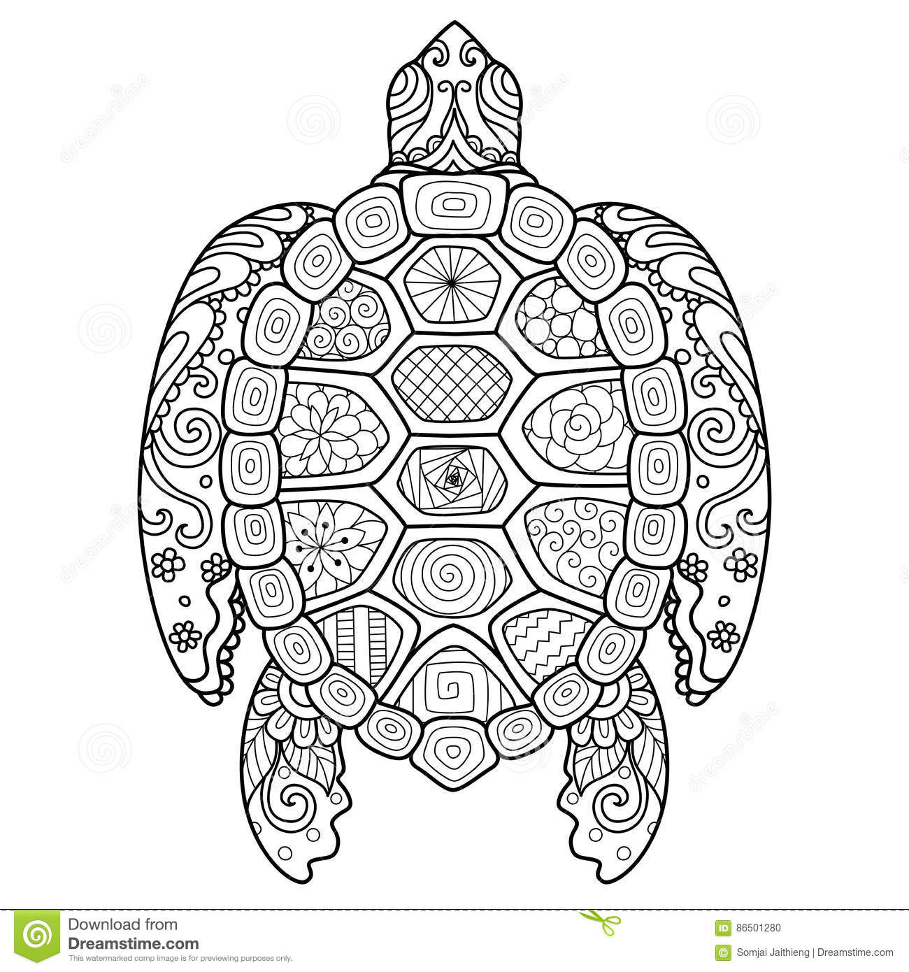 Turtle Tattoo Design Vector Illustration