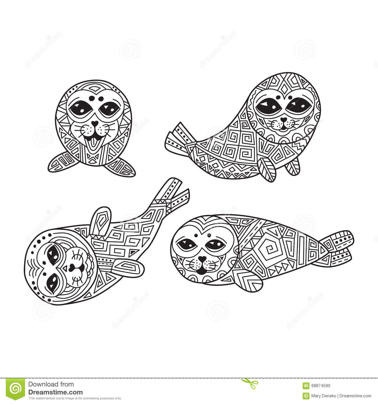 Zentangle The Baikal Seals For Adult Anti Stress Coloring