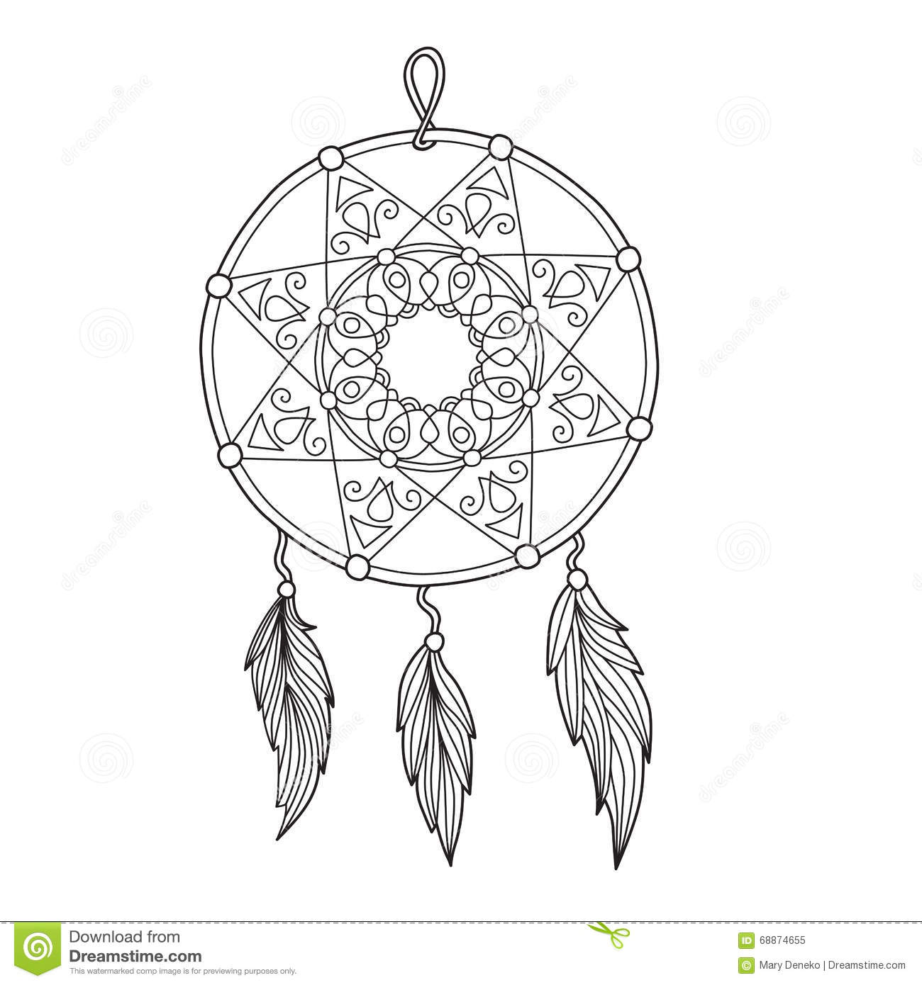 Zentangle Dreamcatcher With Feathers Stock Vector