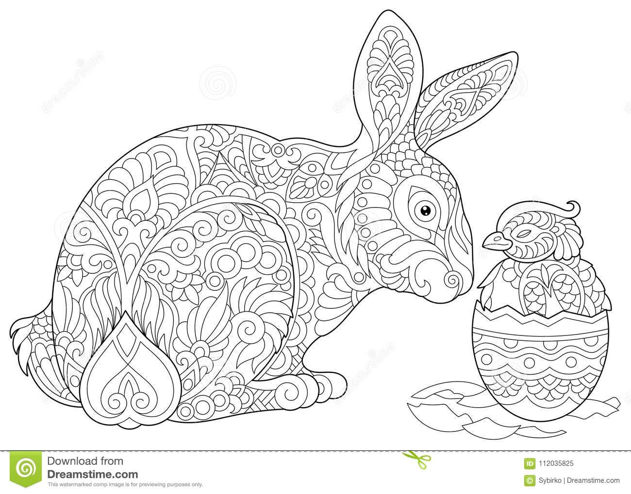 Zentangle Easter Bunny And Chick Stock Vector