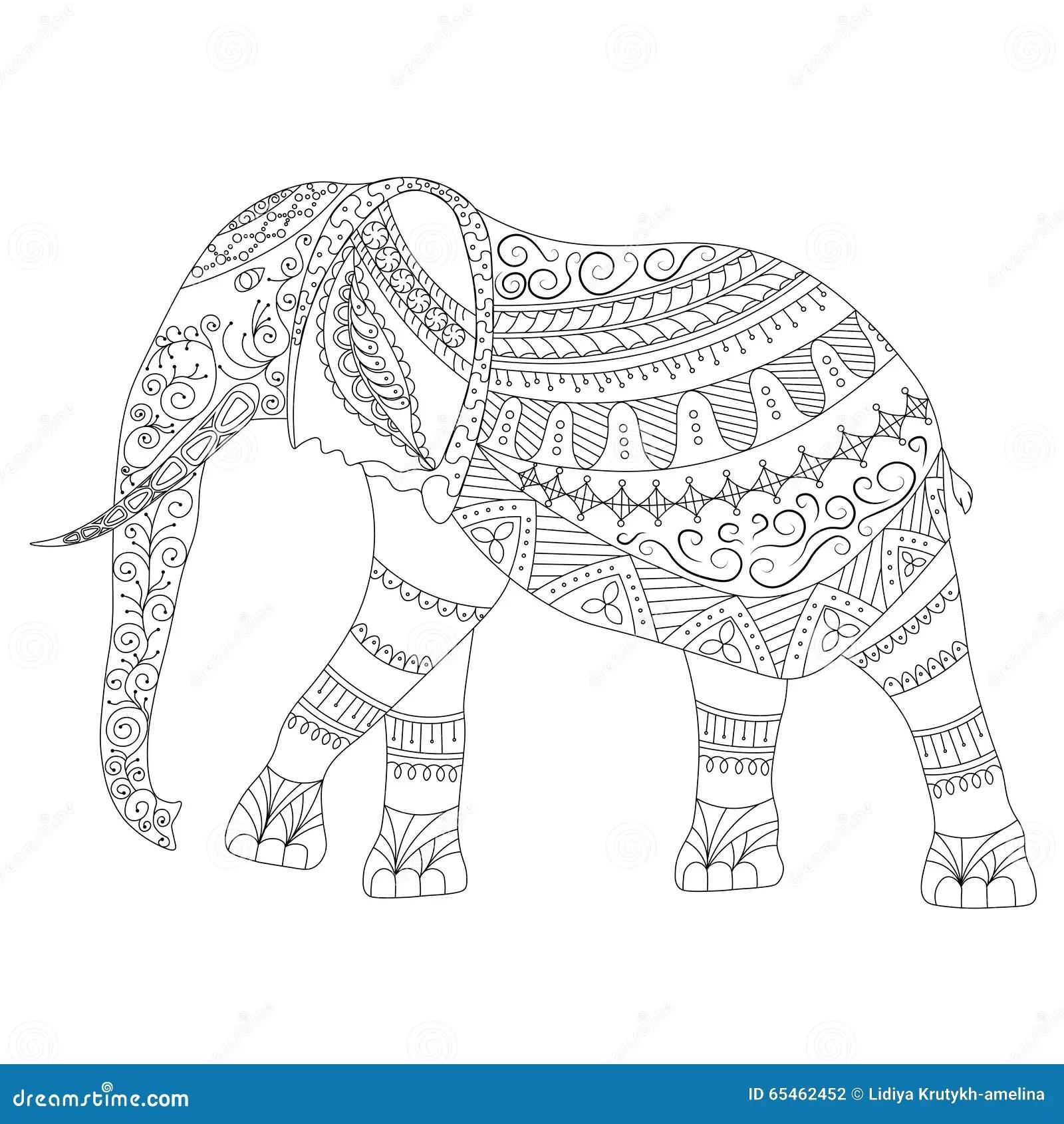 Zentangle Elephant Doodle On White Background Stock Vector