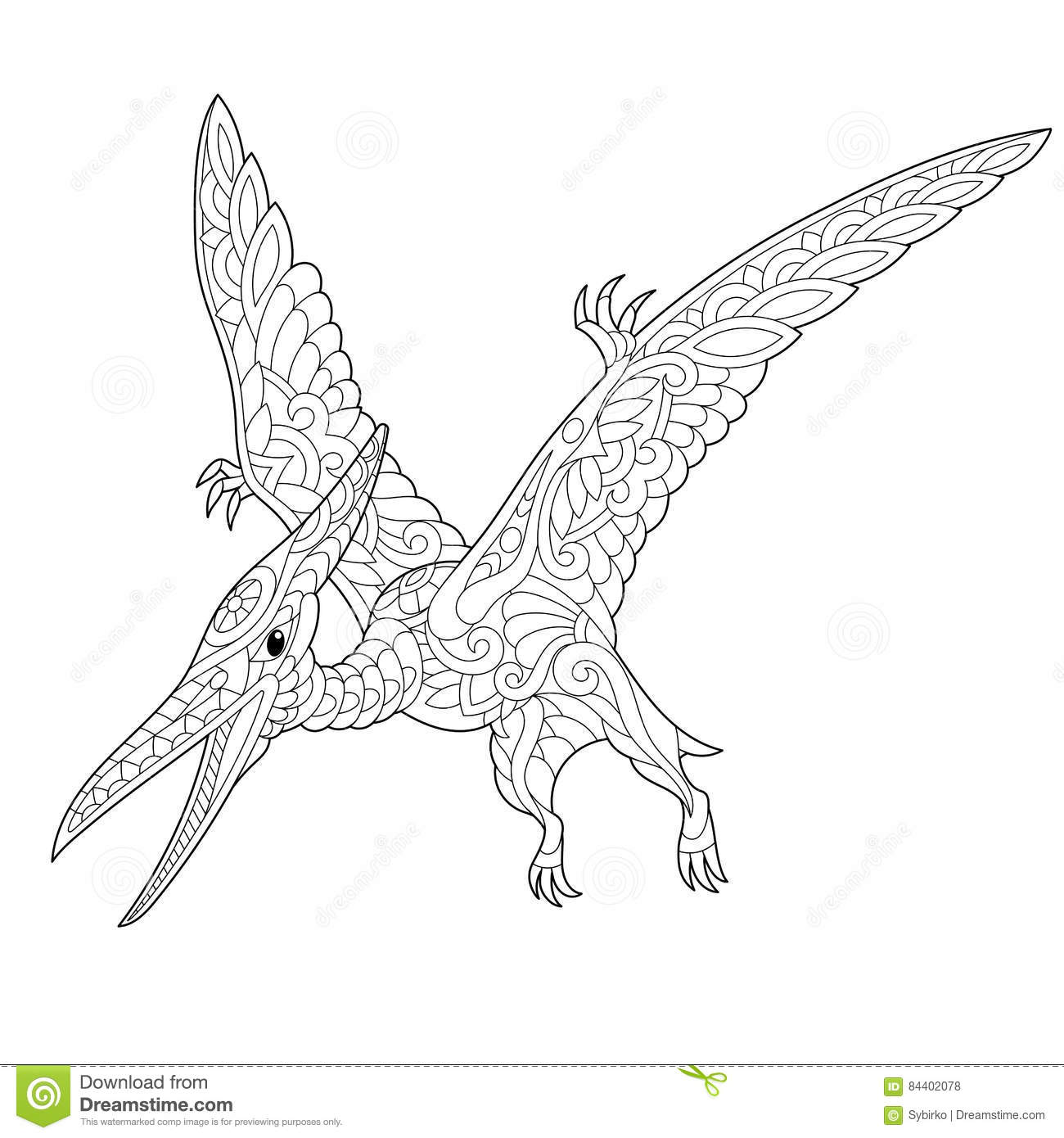 Zentangle Pterodactyl Dinosaur Stock Vector