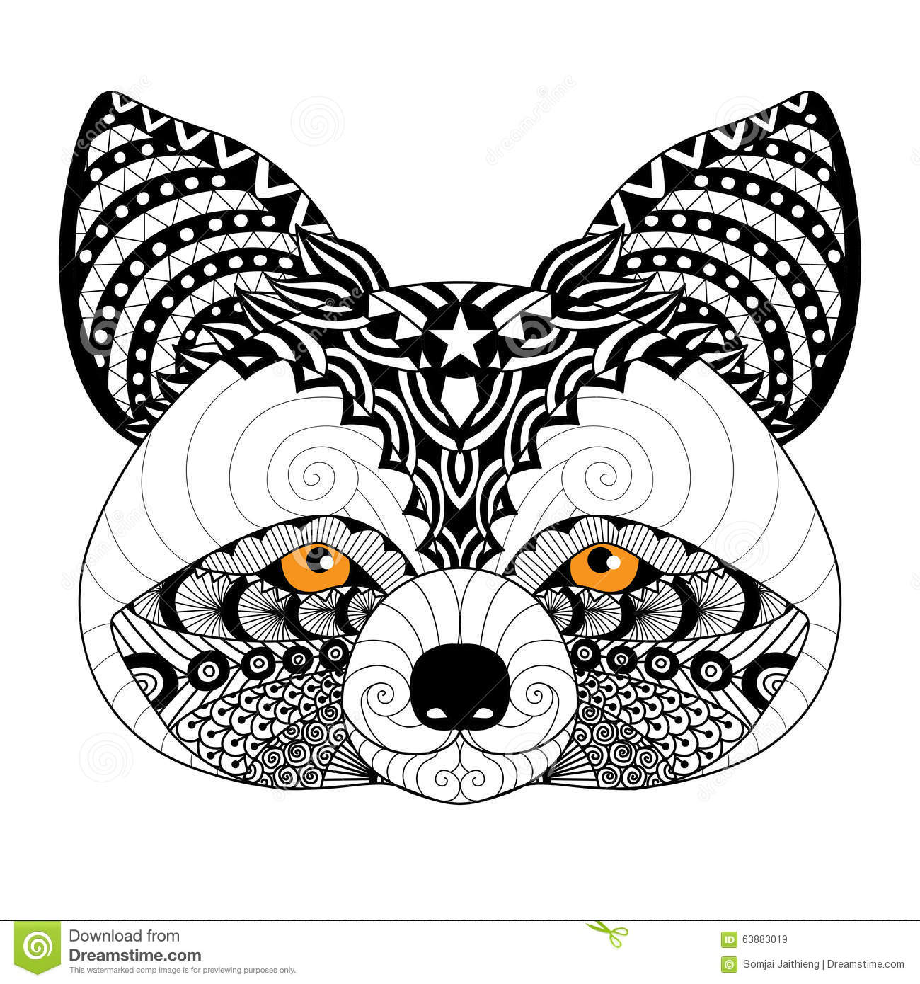 Zentangle Raccoon For Coloring Page For Adult Tattoo Logo Shirt Design And Other Decorations