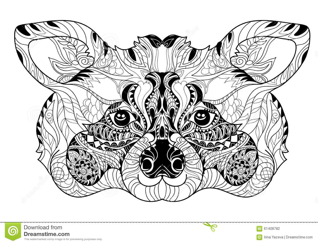 Zentangle Raccoon Head Doodle Hand Drawn Stock Vector