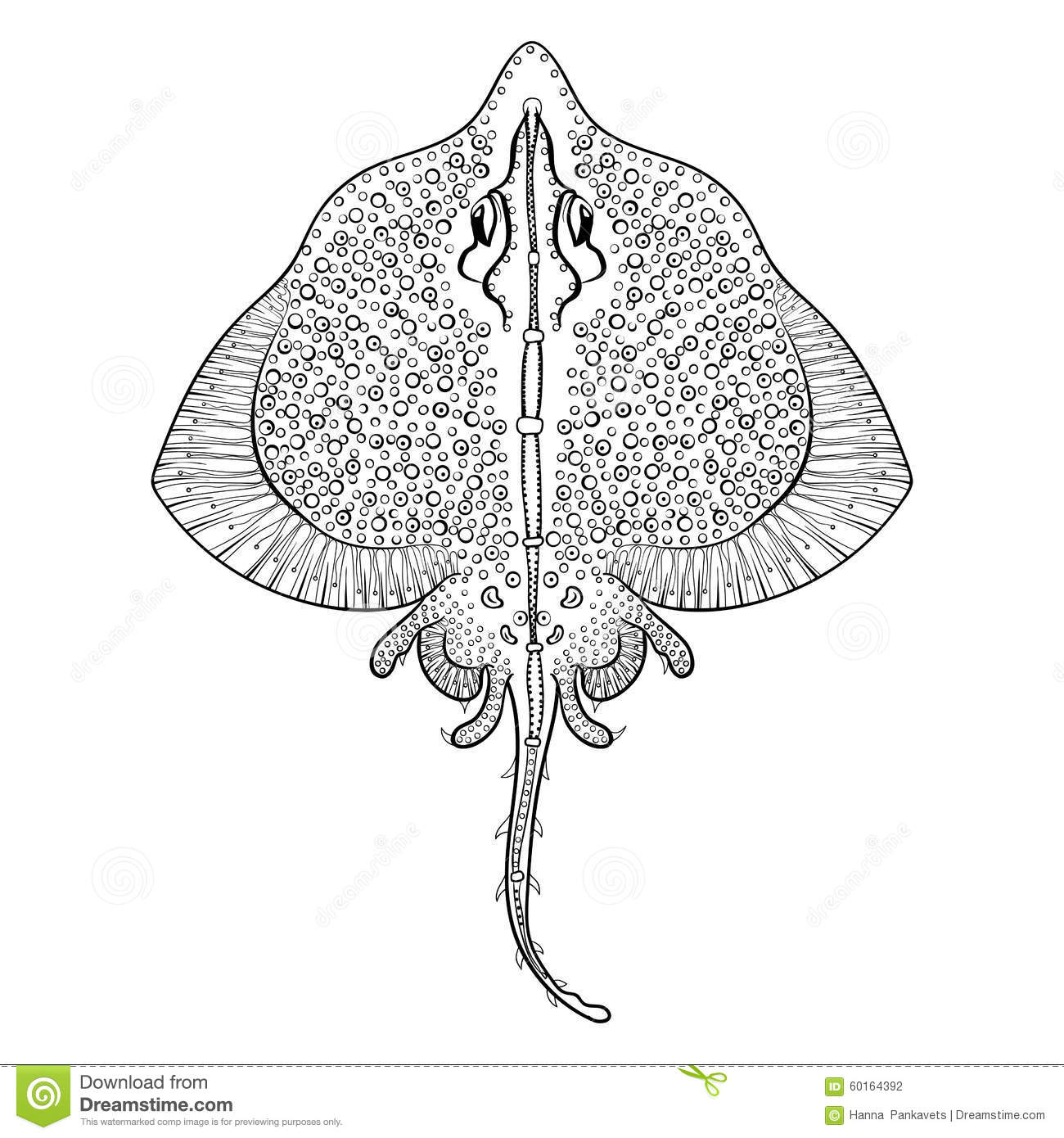 Zentangle Stingray Totem For Adult Anti Stress Coloring