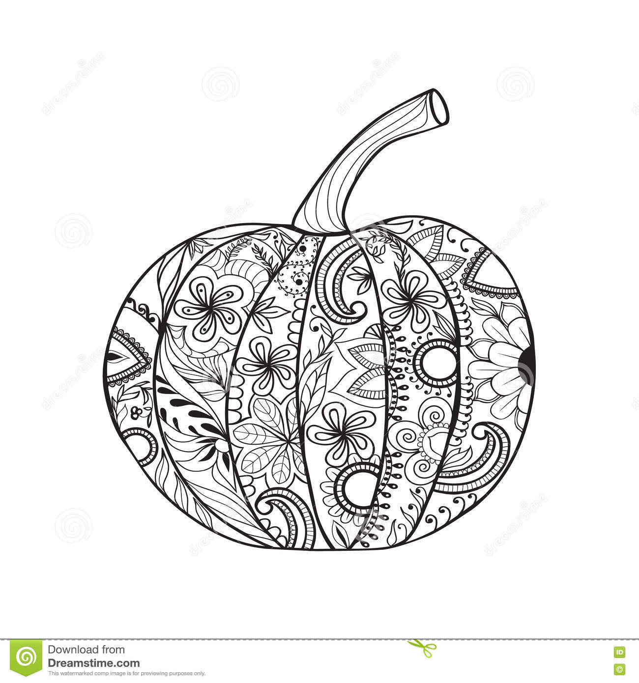 Zentangle Style Pumpkin For Thanksgiving Day Halloween