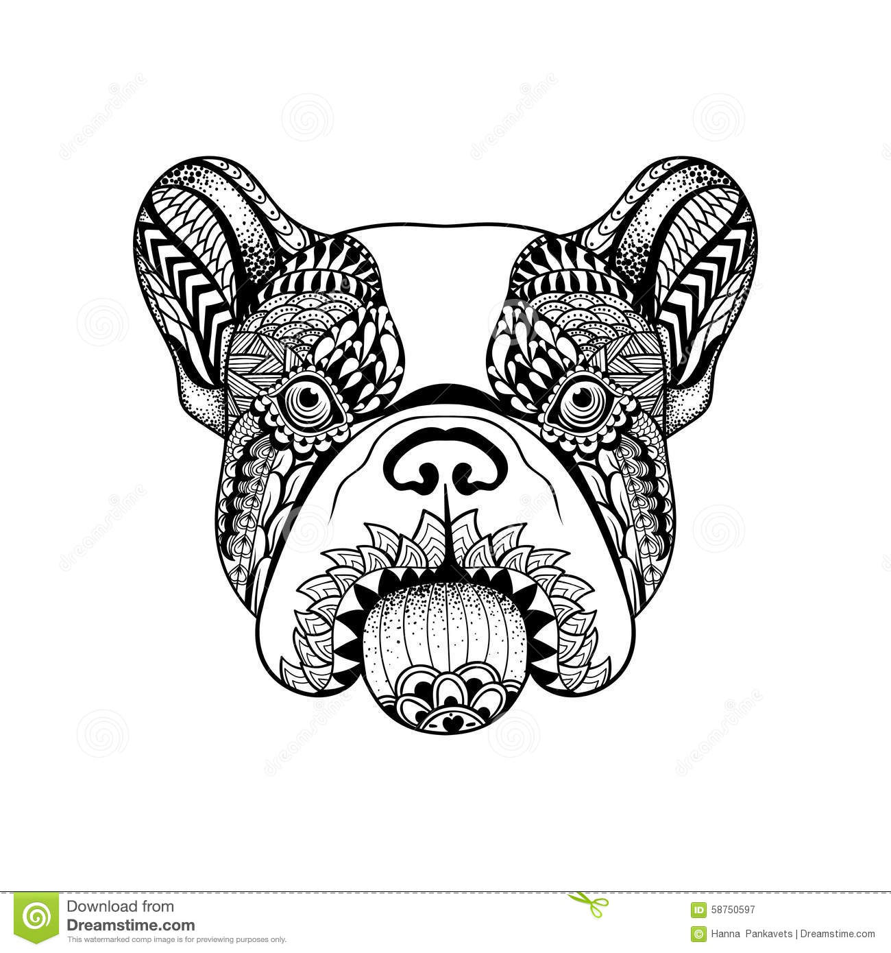 Zentangle A Stylise Le Visage De Bouledogue Francais