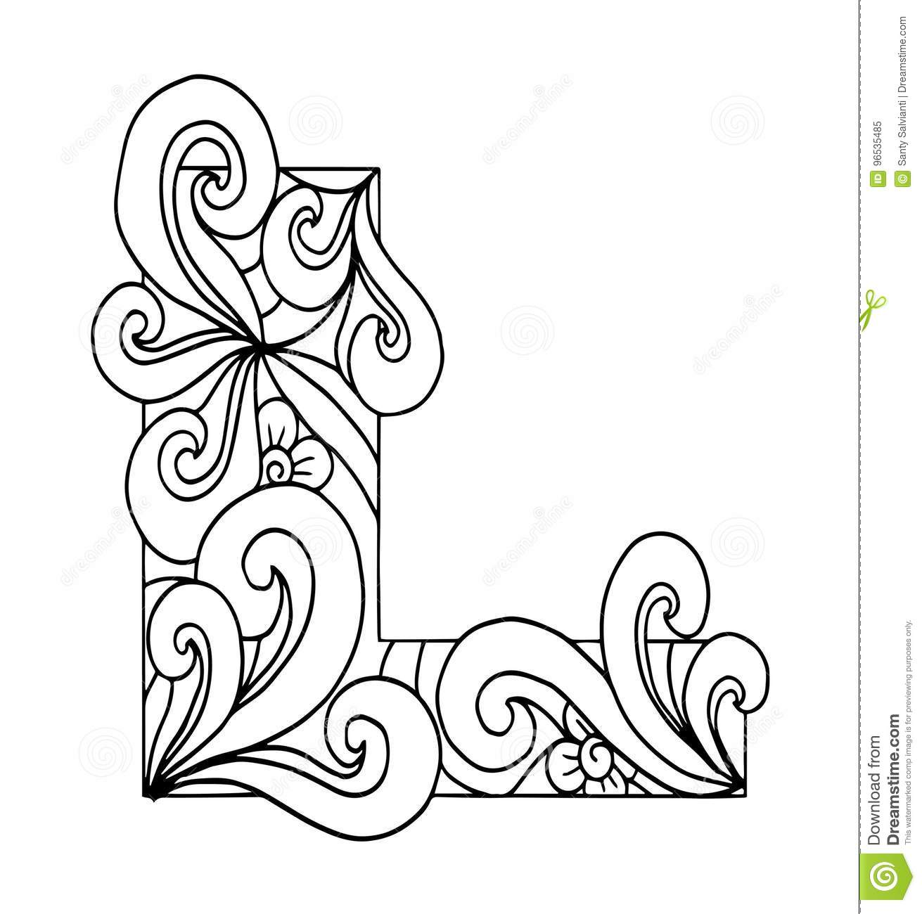 Zentangle Stylized Alphabet Letter L In Doodle Style
