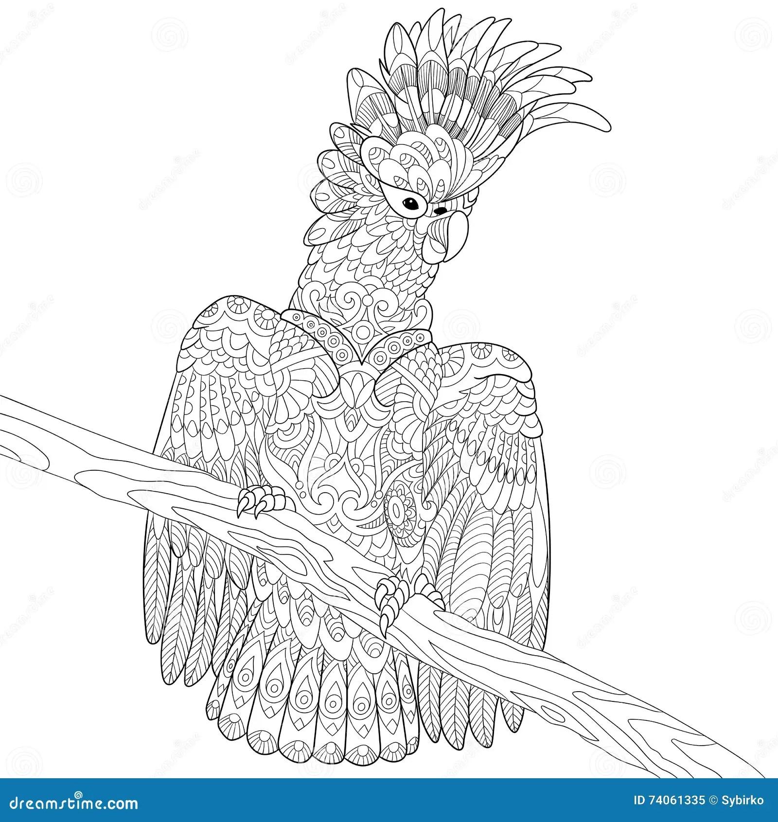 Zentangle Stylized Cockatoo Parrot Cartoon Vector