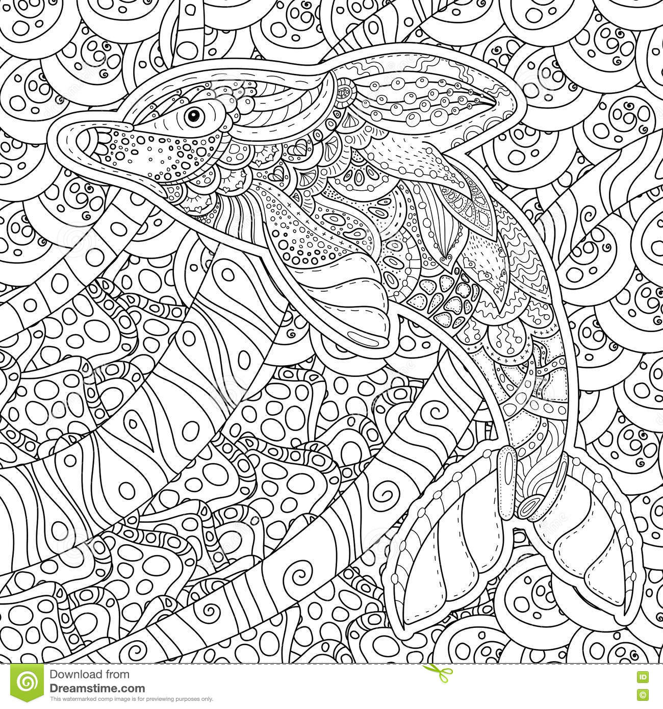 Zentangle Stylized Dolphin Adult Anti Stress Coloring