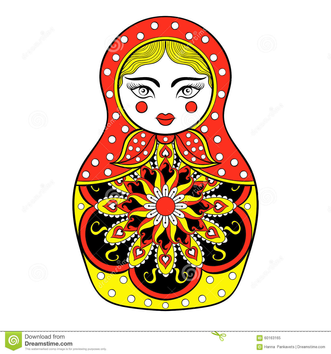 Zentangle Stylized Elegant Russian Doll Matryoshka Doll