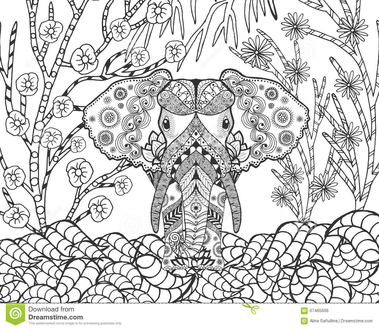 Zentangle Stylized Elephant In Fantasy Garden Stock Vector