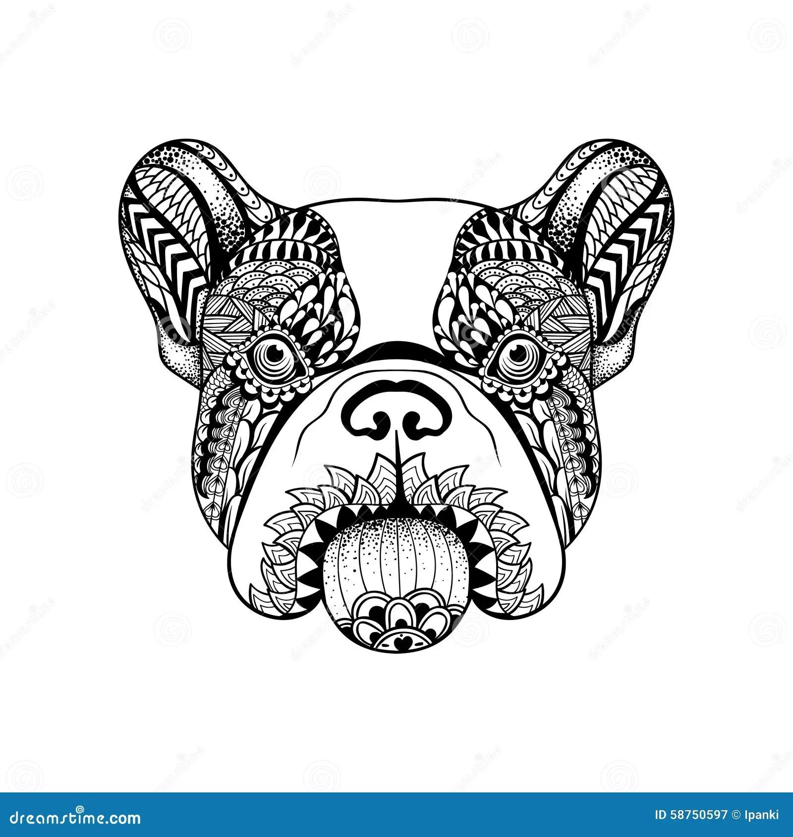 Zentangle Stylized French Bulldog Face Hand Drawn Dog