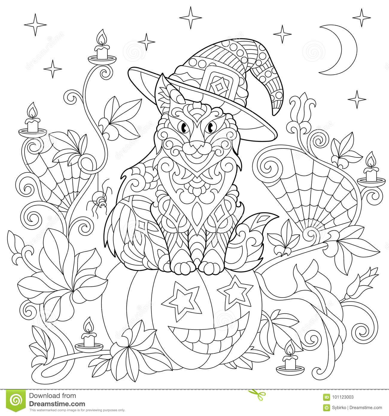 Zentangle Stylized Halloween Coloring Page Stock Vector