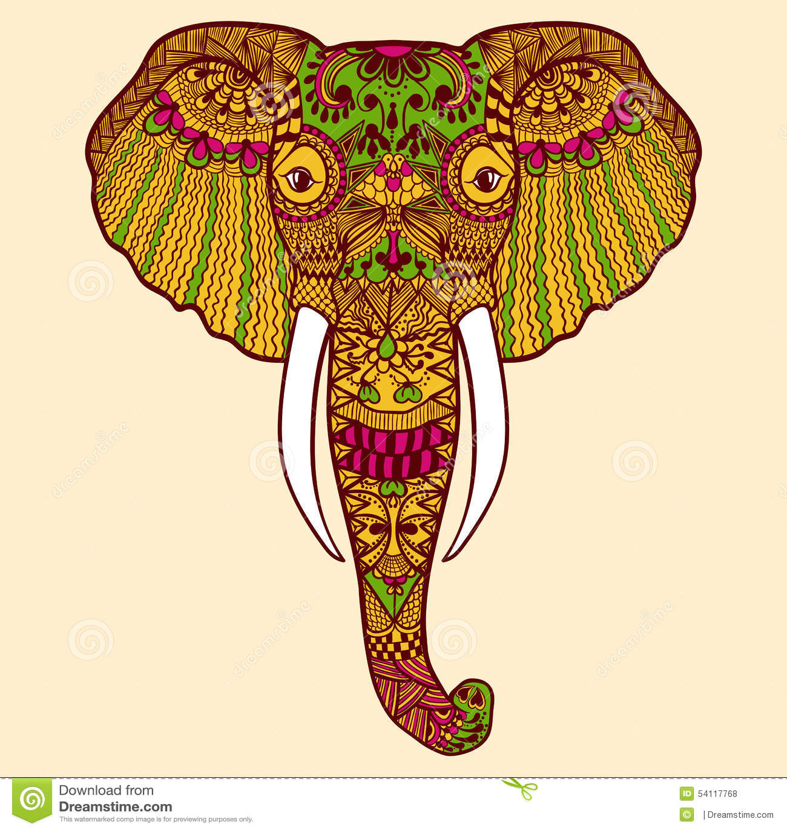 Zentangle Stylized Indian Elephant Hand Drawn Lace Stock