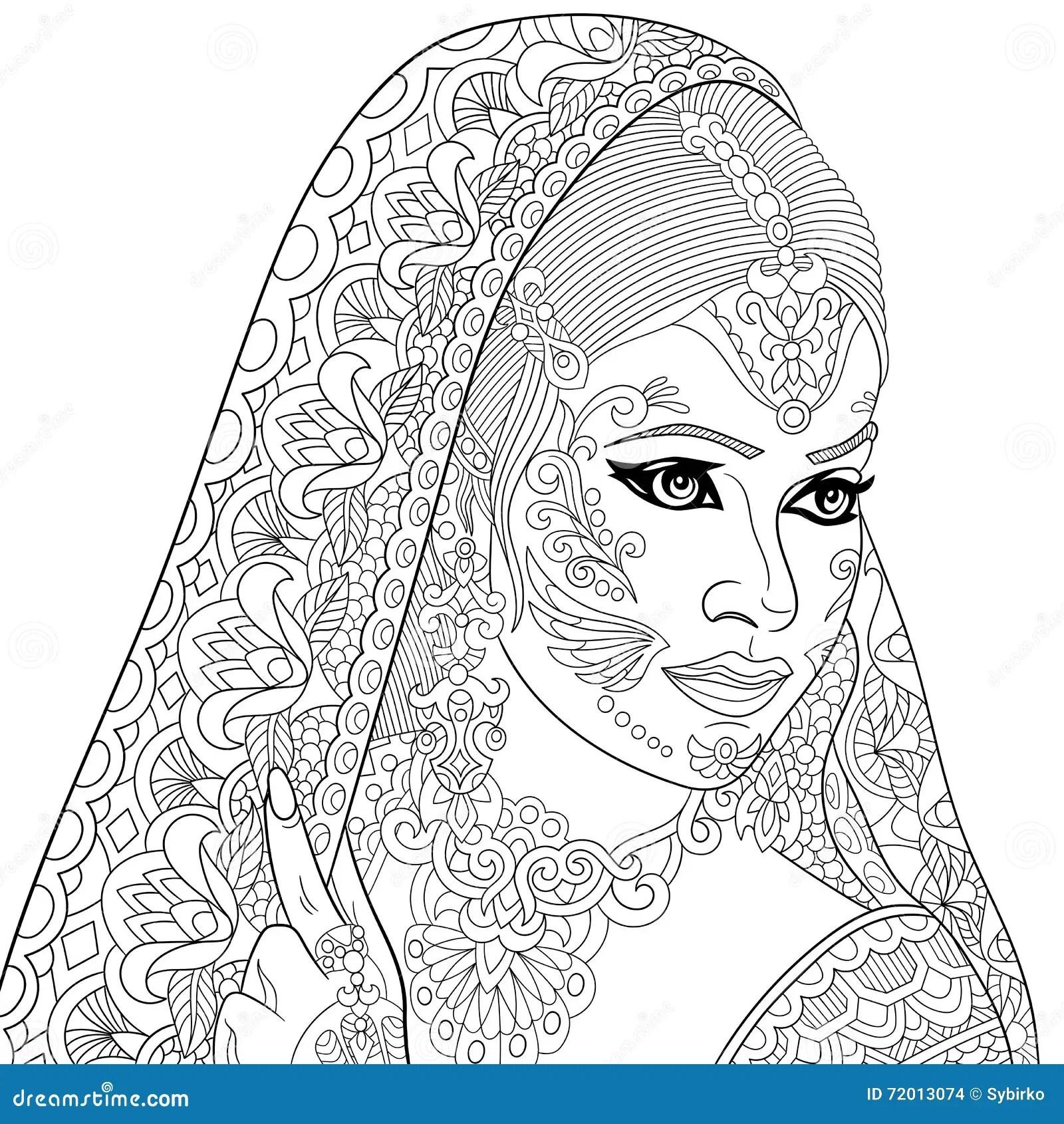 Zentangle Stylized Indian Woman Vector Illustration