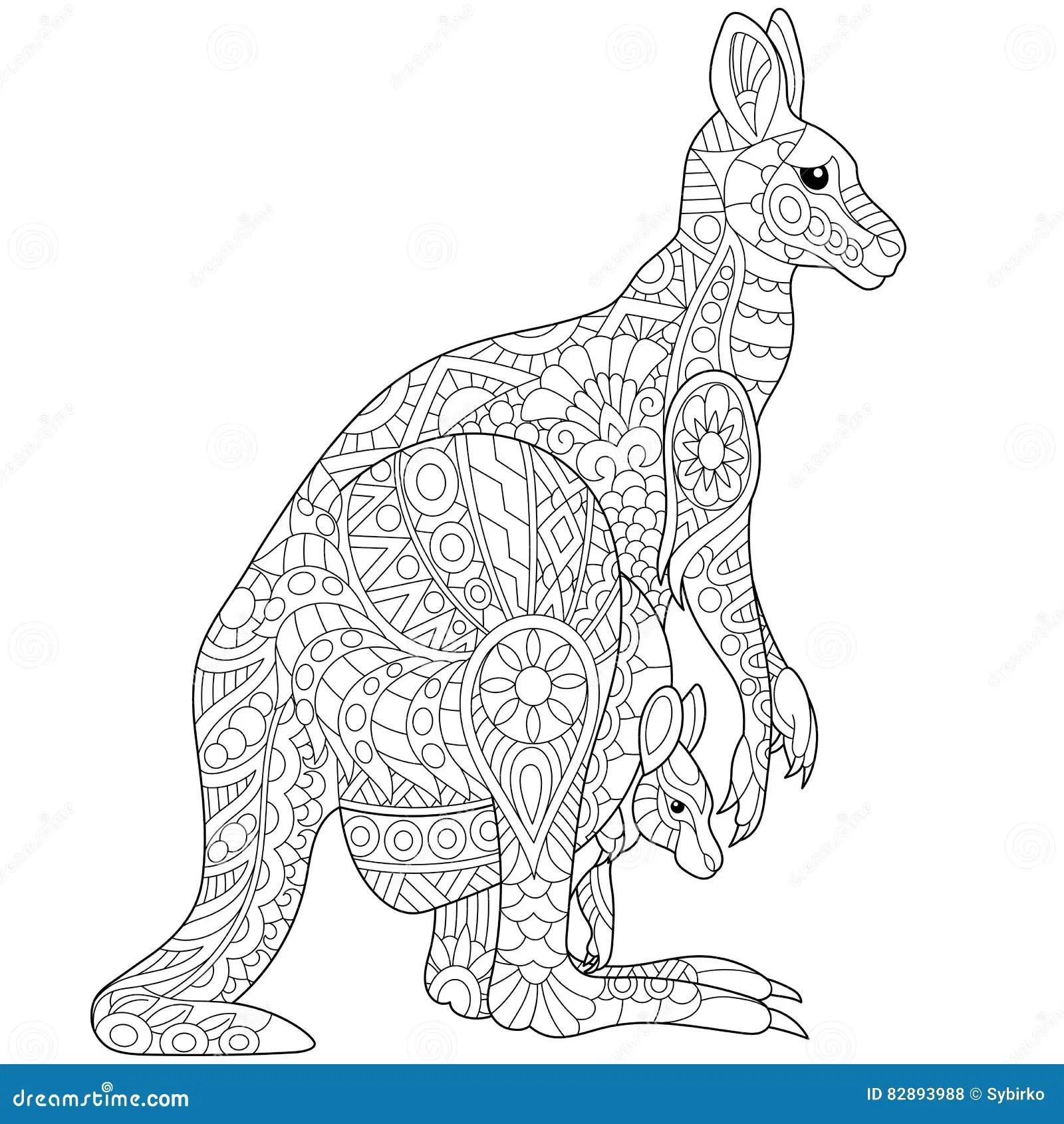 Zentangle Stylized Kangaroo Vector Illustration