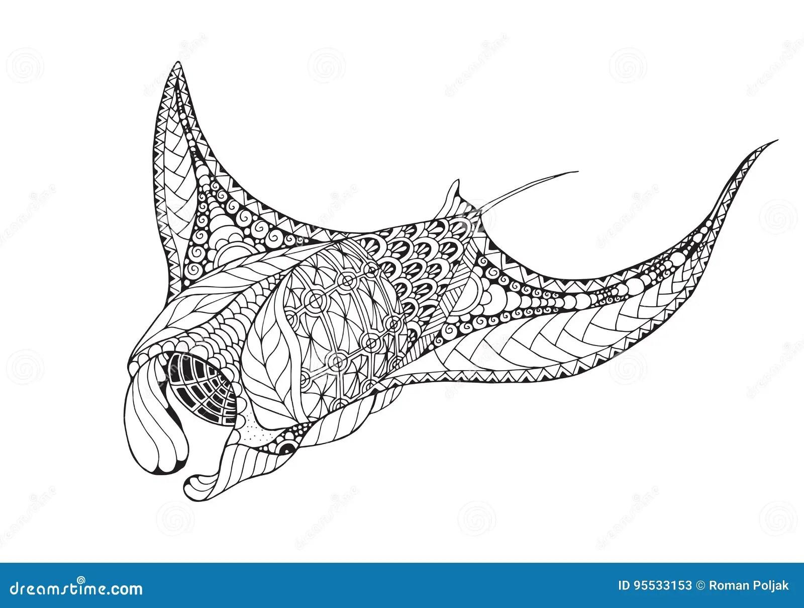 Zentangle Stylized Manta Ray Mobula Devil Fish Stock
