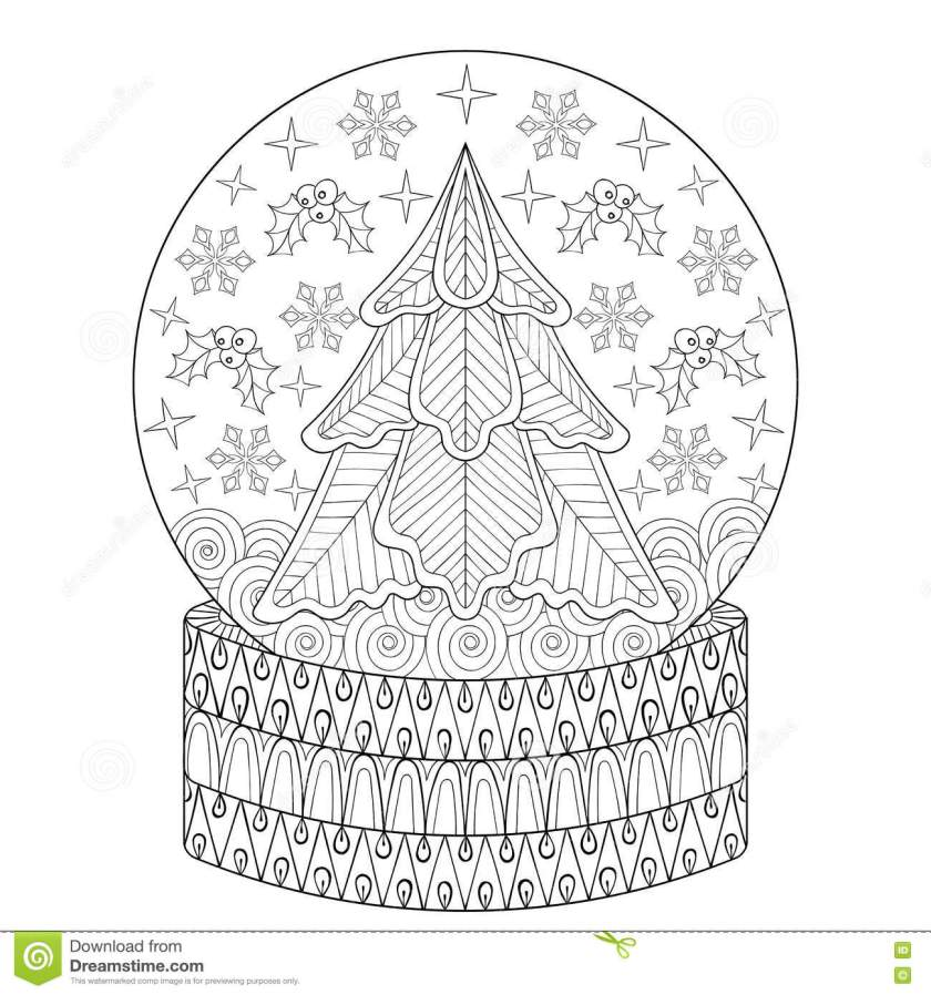 zentangle vector snow globe  christmas fir tree