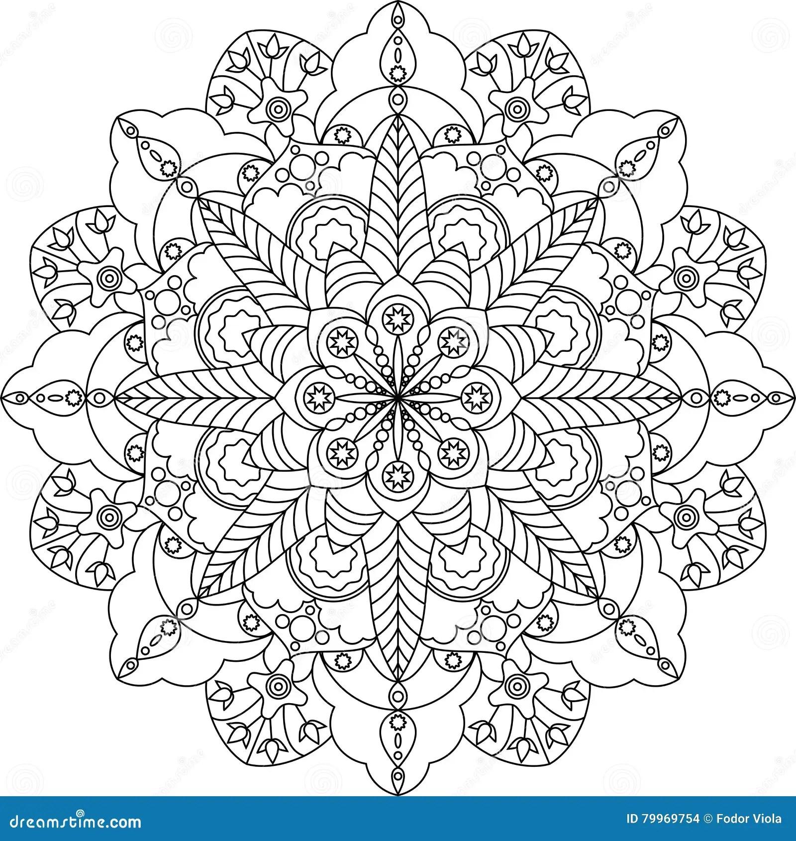 Zentangle Vuxen Farglaggningsida Mandala Med Blommor