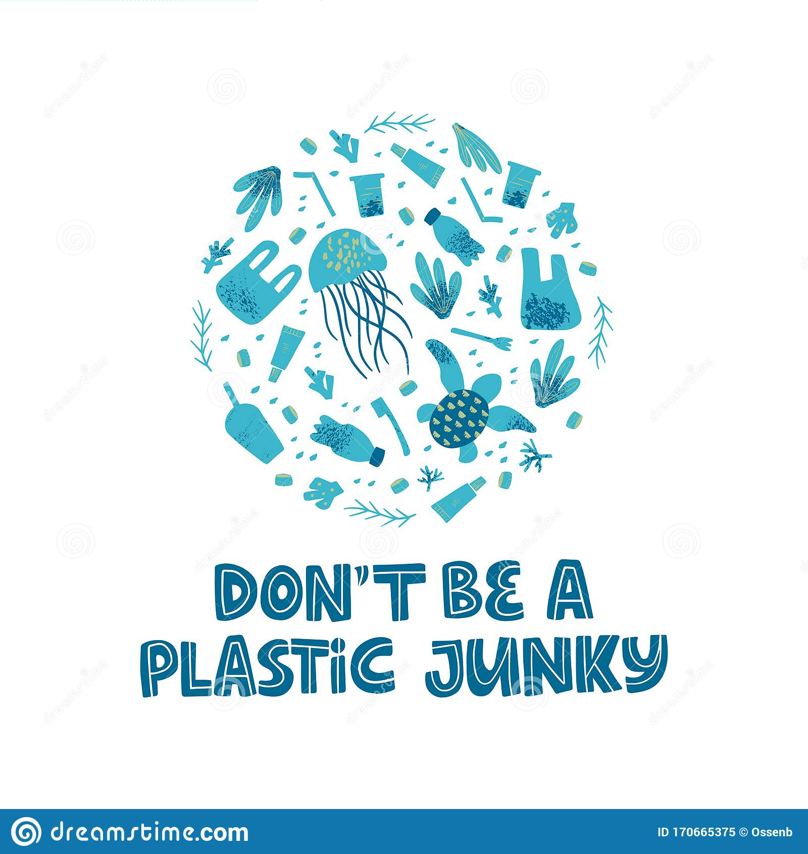 https www dreamstime com zero waste plastic free slogan stop pollution campaign contamination water poster design template disposable garbage sea ocean image170665375
