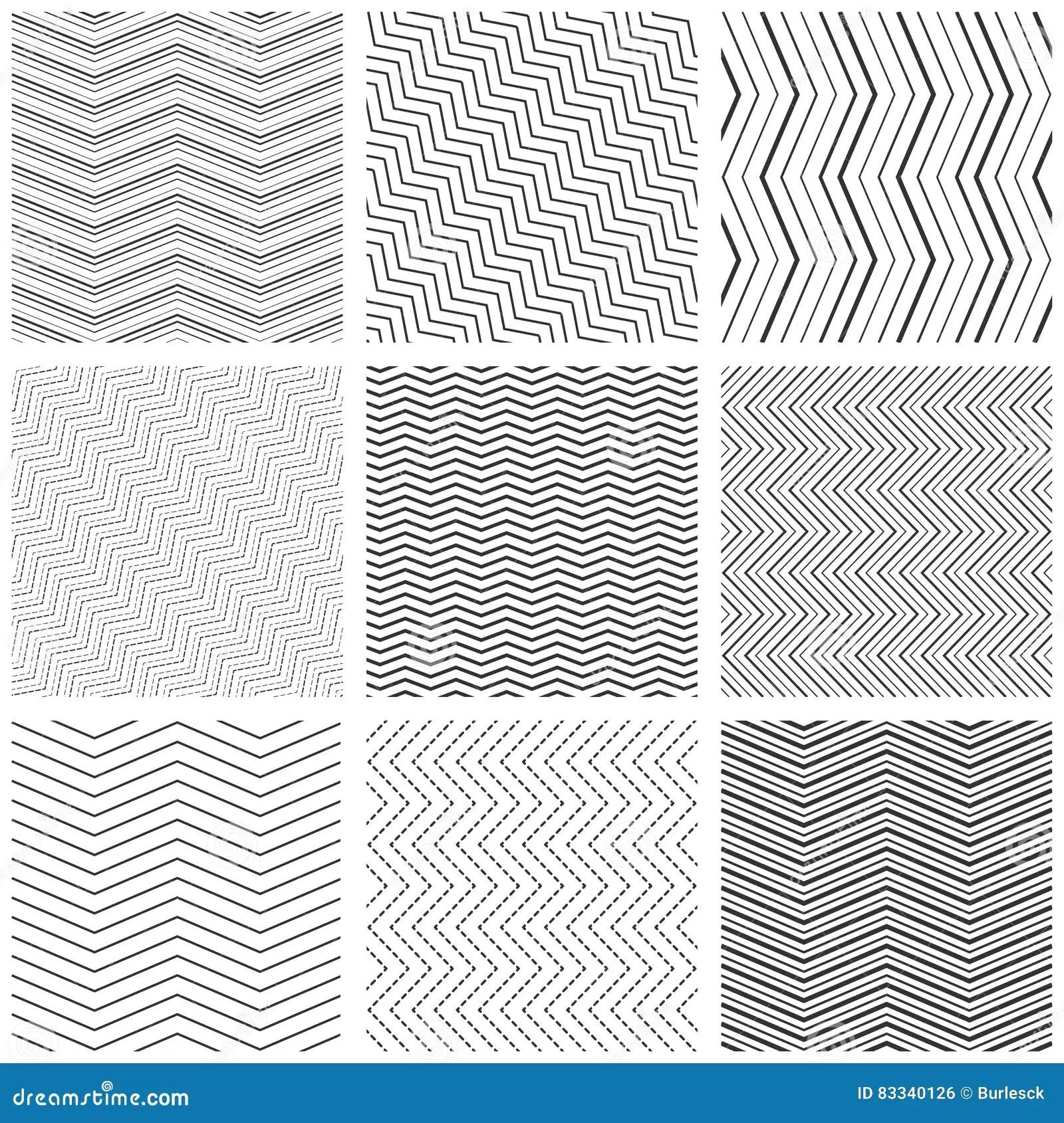 Zigzag Seamless Pattern Set Vector Zig Zag Black Simple