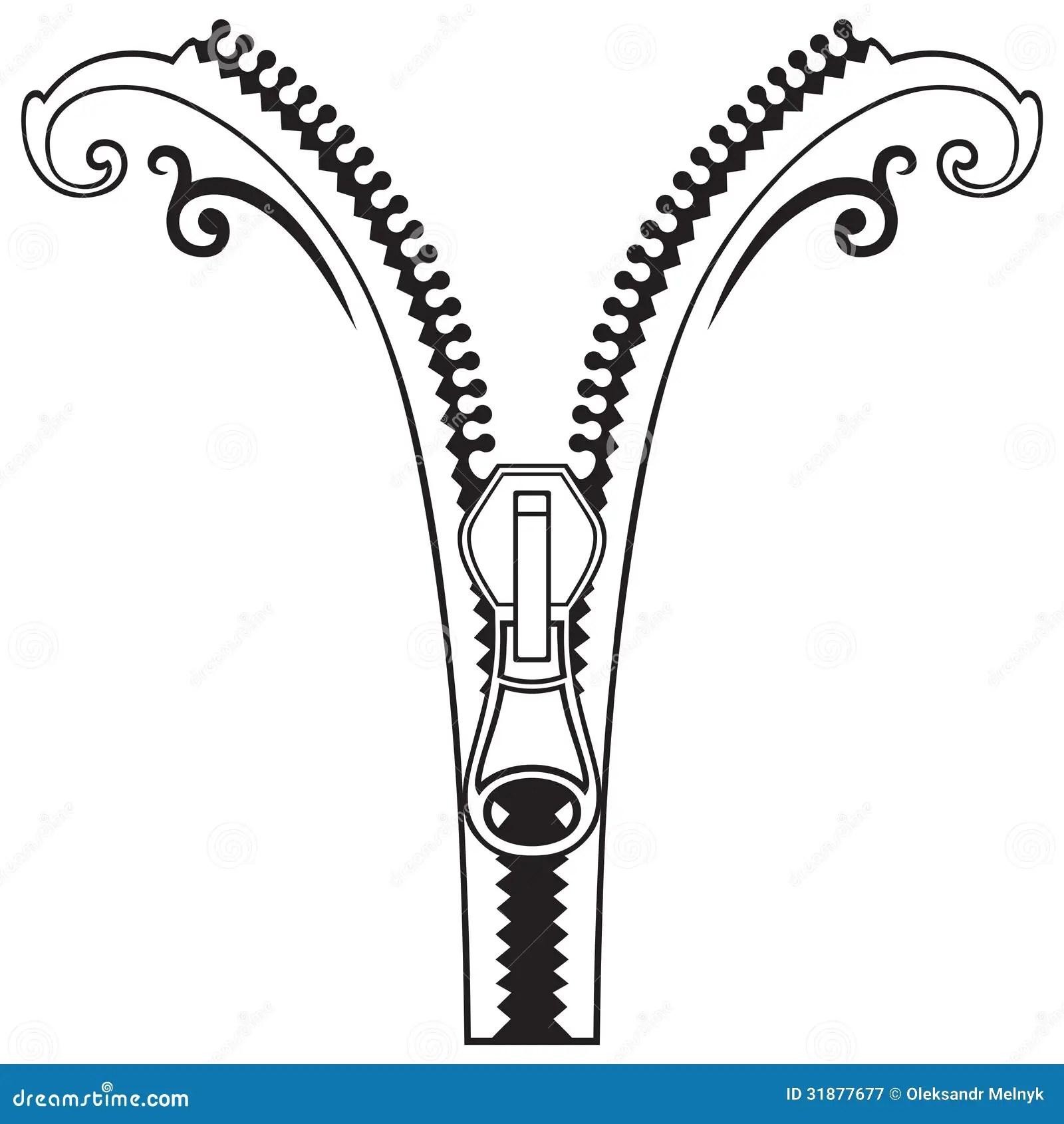 Zipper Black Symbols Stock Vector Illustration Of Lock