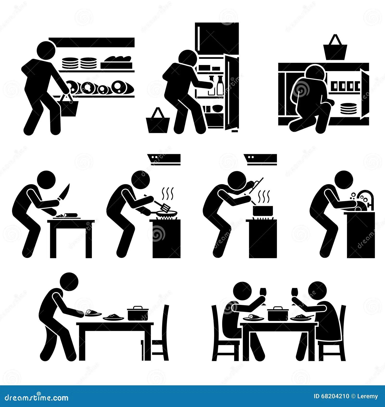 Zu Hause Kochen Und Zubereitung Des Lebensmittels Clipart