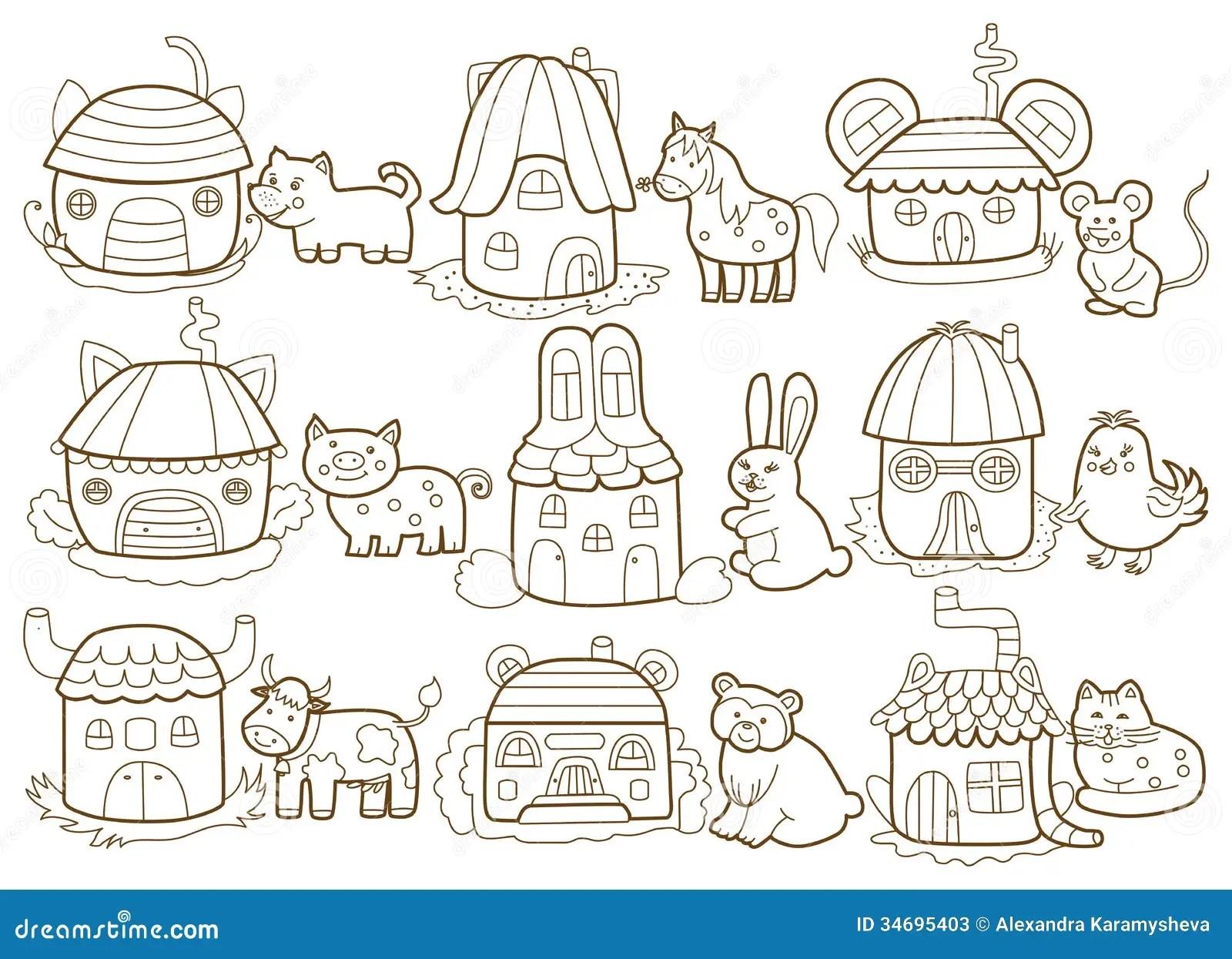 Zwierz Ta I Ich Domy Ilustracji Ilustracja Z O Onej Z