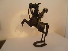 VERY RARE AFRICAN TRIBAL ANTIQUE BENIN CAST BRONZE HORSE RIDER FIGURE
