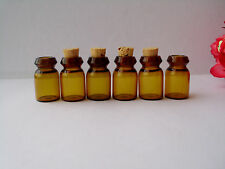 LOT SMALL AMBER GLASS VIALS WITH CORK TOPS 0.5ML TINY BOTTLES LITTLE EMPTY JARS